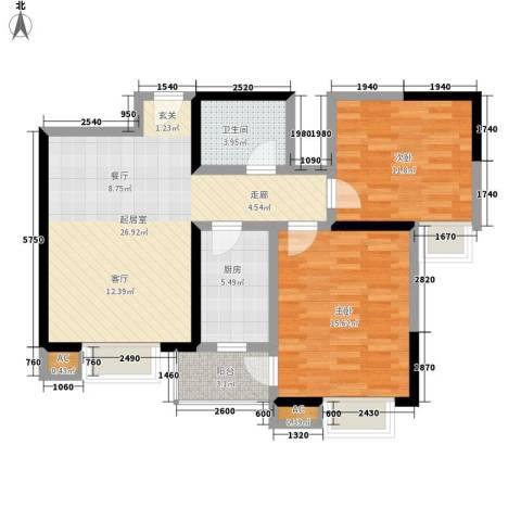 金泰假日花城2室0厅1卫1厨76.00㎡户型图