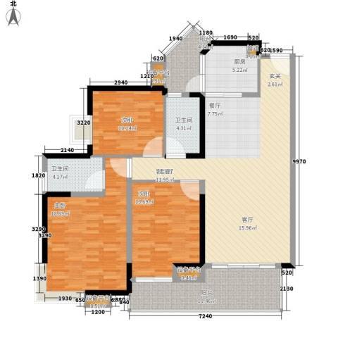 中海金沙湾3室1厅2卫1厨127.00㎡户型图