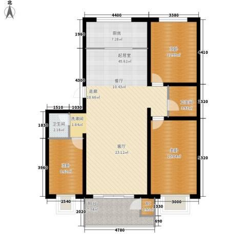 蔚蓝花城3室0厅2卫1厨118.00㎡户型图