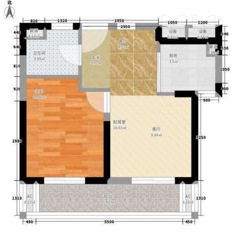 远洋明苑1室0厅1卫1厨48.00㎡户型图