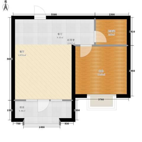蔚蓝花城1室0厅1卫1厨62.00㎡户型图