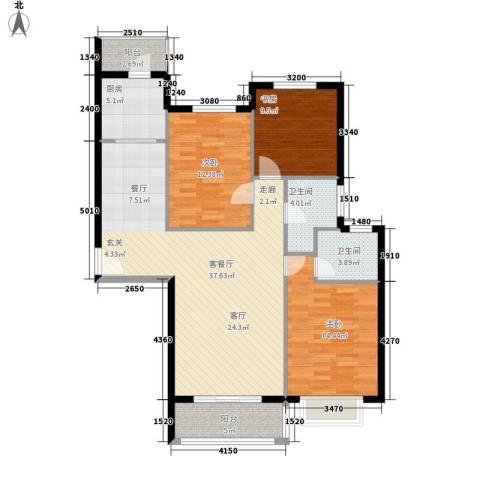 凤凰新城3室1厅2卫1厨136.00㎡户型图