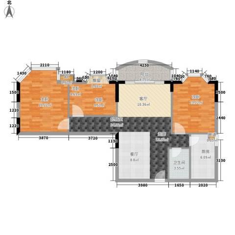荔尚国际3室0厅1卫1厨100.00㎡户型图