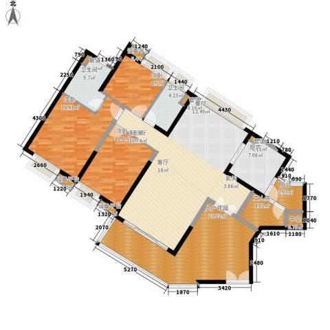 中海金沙湾3室1厅2卫1厨158.00㎡户型图