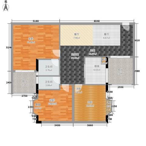 荔尚国际3室0厅2卫1厨122.00㎡户型图