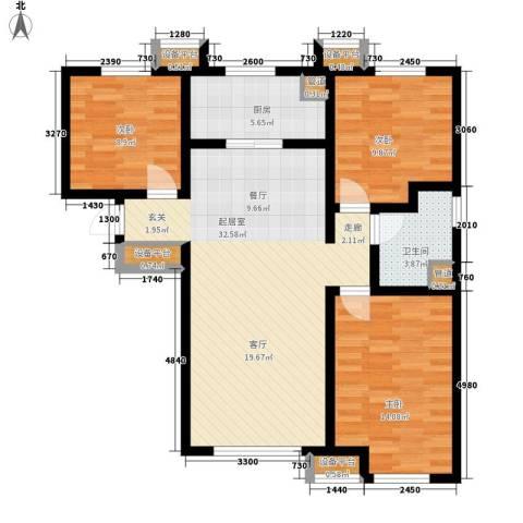 华远海蓝城3室0厅1卫1厨110.00㎡户型图