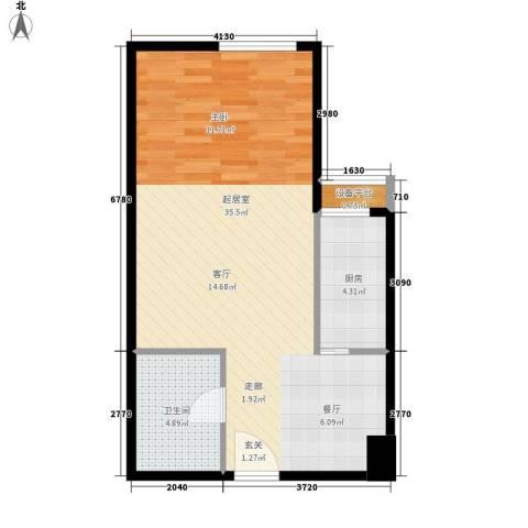 宏府嘉会公寓1卫1厨50.00㎡户型图
