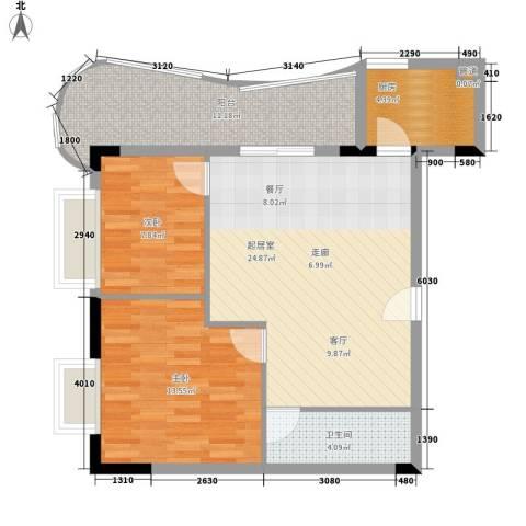 会展西岸2室0厅1卫1厨74.00㎡户型图