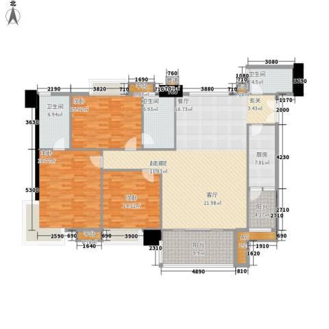 东海嘉园3室0厅3卫1厨164.00㎡户型图