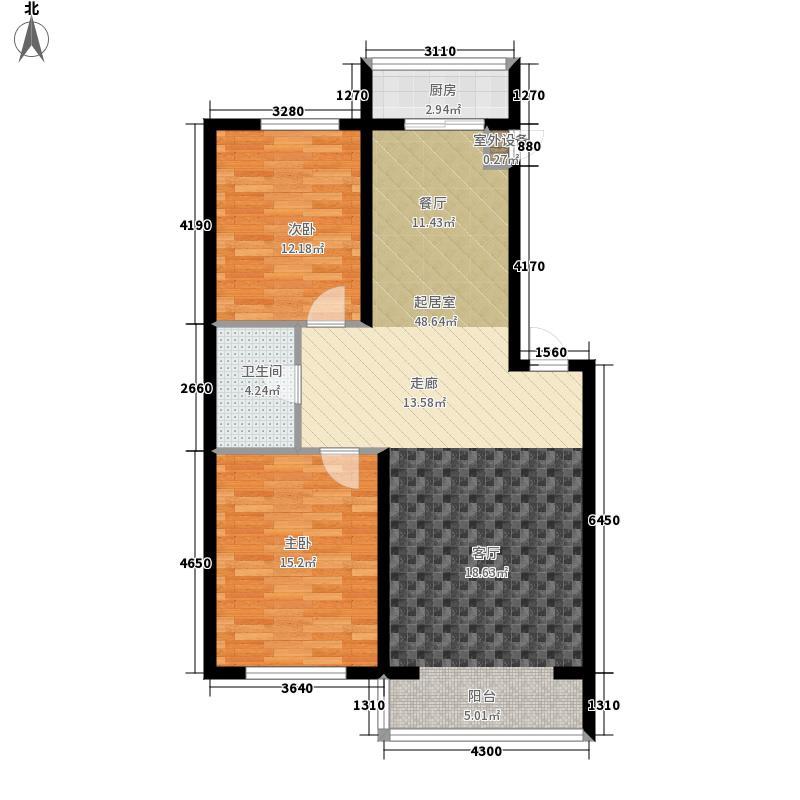 松江绅苑93.00㎡2室2厅1卫1厨93.00㎡户型2室2厅1卫
