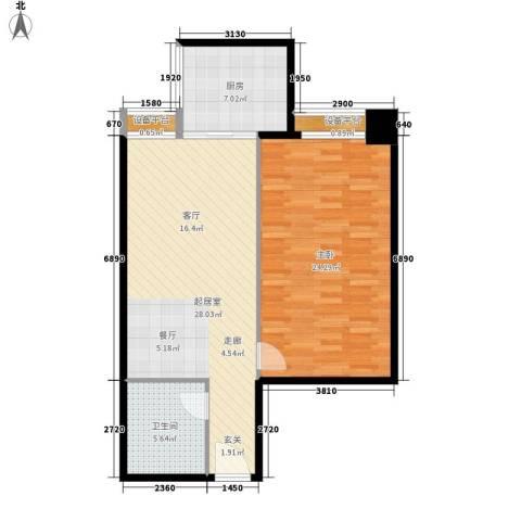 宏府嘉会公寓1室0厅1卫1厨74.00㎡户型图