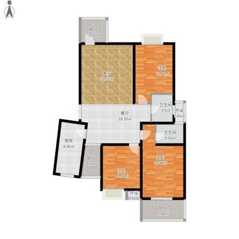 碧水云天家园3室1厅2卫1厨154.00㎡户型图