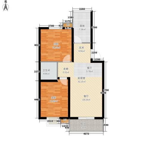 万国远鉴名筑2室0厅1卫1厨88.00㎡户型图