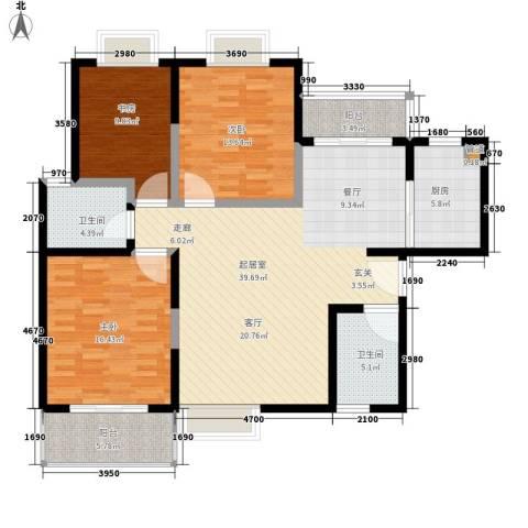 万国远鉴名筑3室0厅2卫1厨120.00㎡户型图
