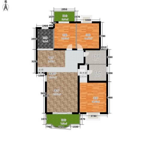 紫薇苑3室1厅2卫1厨136.00㎡户型图