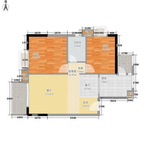 江南新苑2室0厅1卫1厨88.00㎡户型图