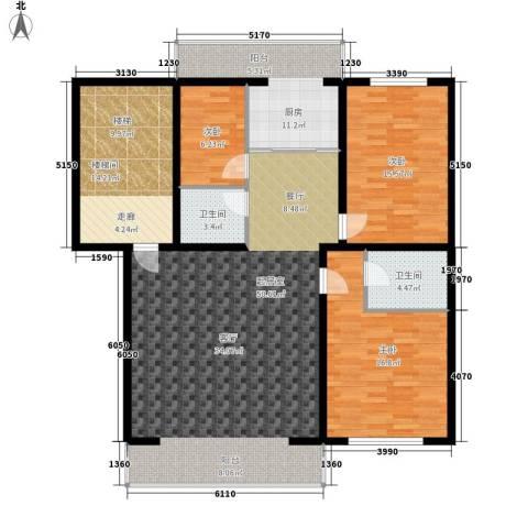 净馨家园3室0厅2卫1厨122.49㎡户型图