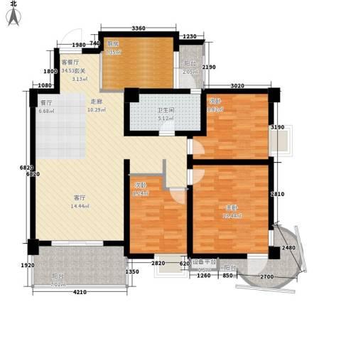 鸿阁一号3室1厅1卫1厨107.00㎡户型图