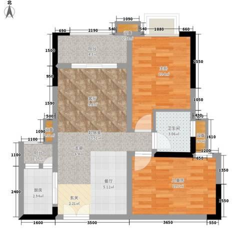 上东莱克辛顿2室0厅1卫1厨79.00㎡户型图