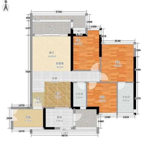 云裳丽影3室0厅2卫1厨114.00㎡户型图