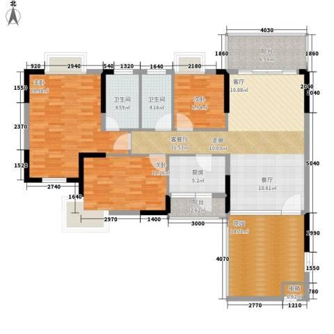 汇美体育花园3室1厅2卫1厨121.00㎡户型图