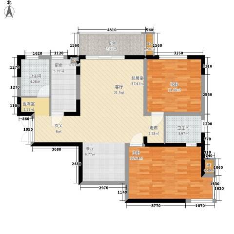尊域2室0厅2卫1厨114.00㎡户型图