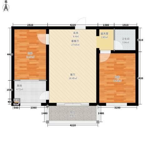金川新城2室1厅1卫1厨73.00㎡户型图
