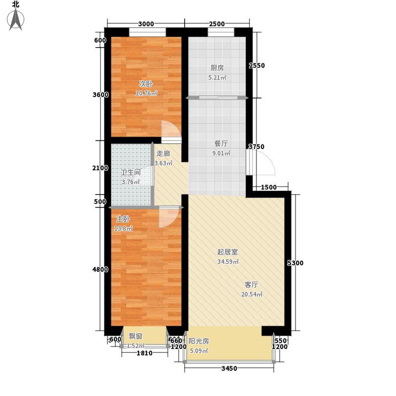 阳光美地87.19㎡阳光美地户型图(5/5张)户型2室1厅1卫