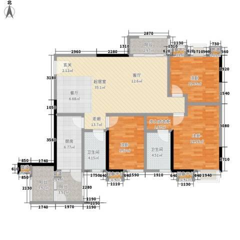 城市假日园3室0厅2卫1厨114.00㎡户型图