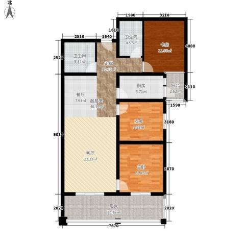聚福园3室0厅2卫1厨124.00㎡户型图