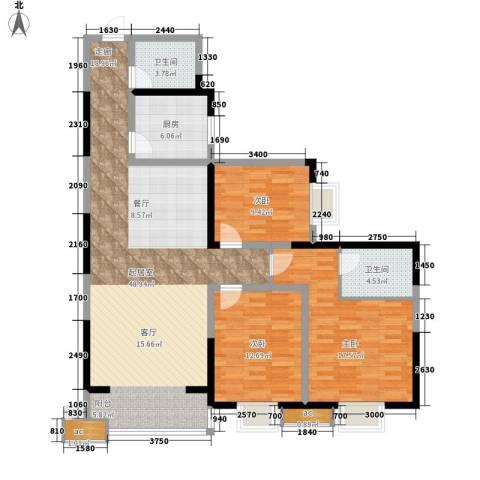 和平花园3室0厅2卫1厨136.00㎡户型图