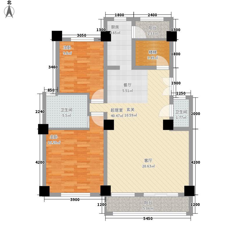 新世纪花园180.10㎡10、11栋跃层一阳台N户型2室2厅