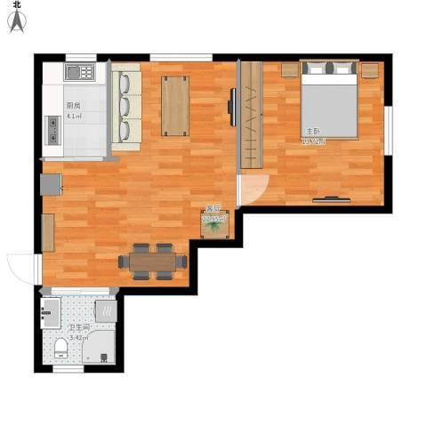 明城・新北市1室1厅1卫1厨61.00㎡户型图