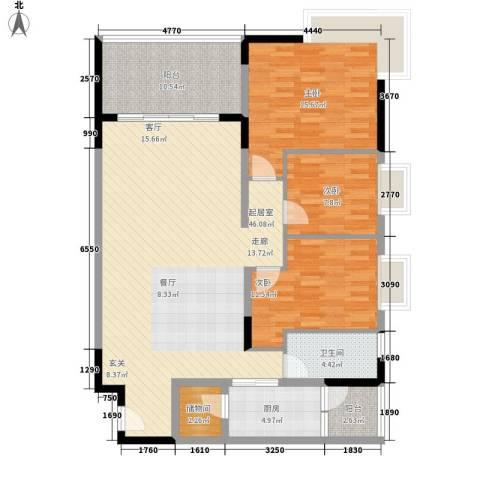 会展西岸3室0厅1卫1厨121.00㎡户型图