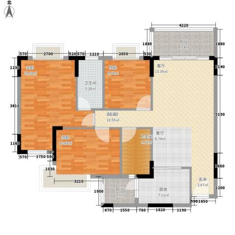 汇美体育花园3室1厅2卫1厨119.00㎡户型图