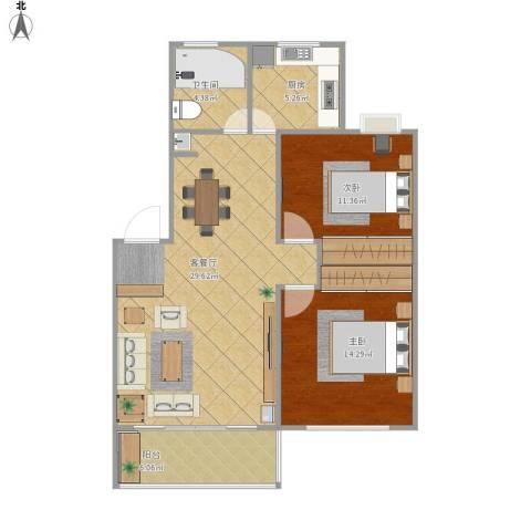 浦发绿城2室1厅1卫1厨95.00㎡户型图