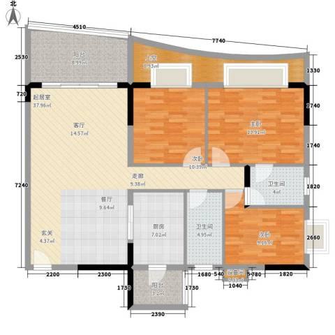 会展西岸3室0厅2卫1厨123.00㎡户型图