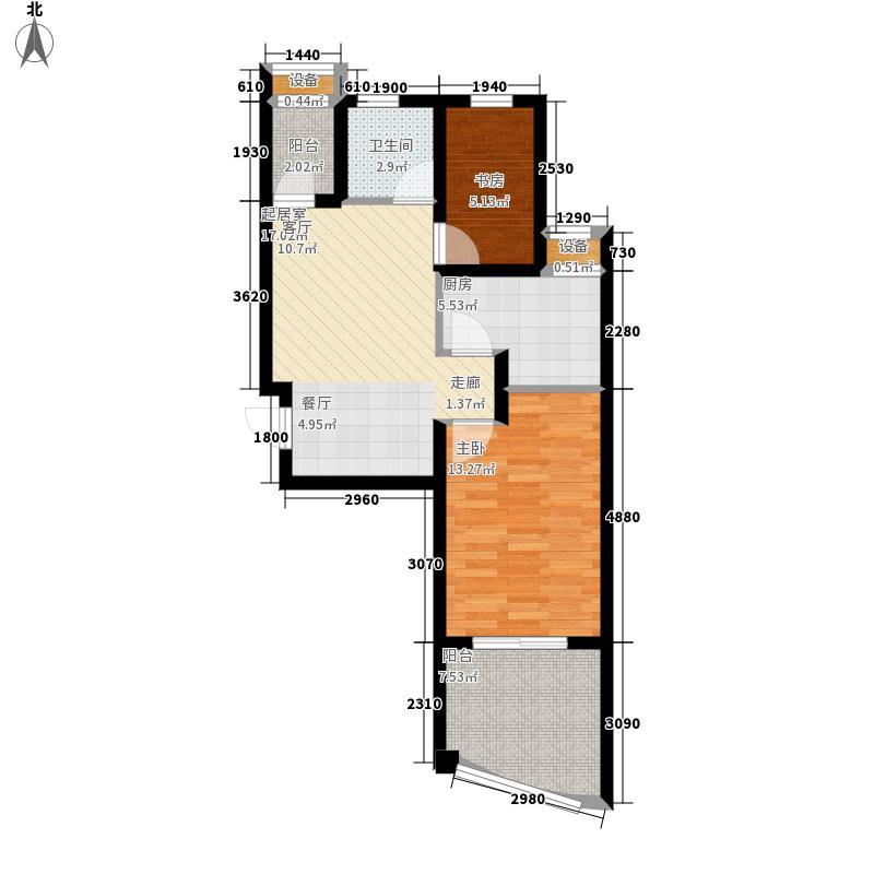 圣联梦溪小镇64.00㎡1#楼LadyGaga户型2室2厅
