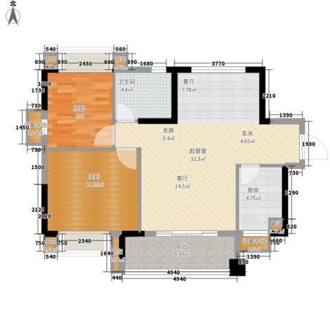 锦绣海湾城2室0厅1卫1厨77.00㎡户型图