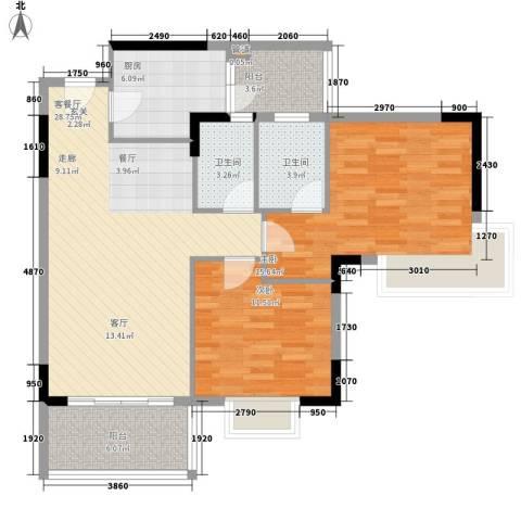 汇美体育花园2室1厅2卫1厨89.00㎡户型图