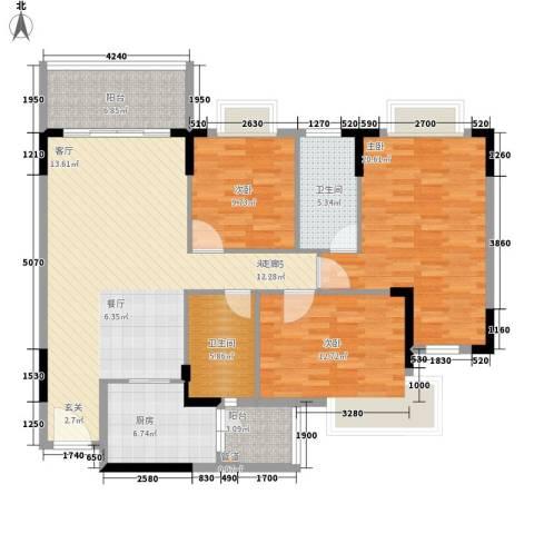 汇美体育花园3室0厅2卫1厨119.00㎡户型图