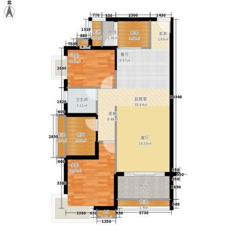 翡翠山湖三期臻萃园2室0厅1卫1厨111.00㎡户型图