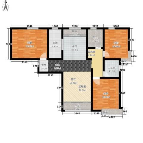 融创君澜融公馆3室0厅1卫1厨124.00㎡户型图