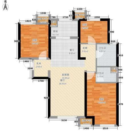 华远海蓝城3室0厅2卫1厨110.00㎡户型图