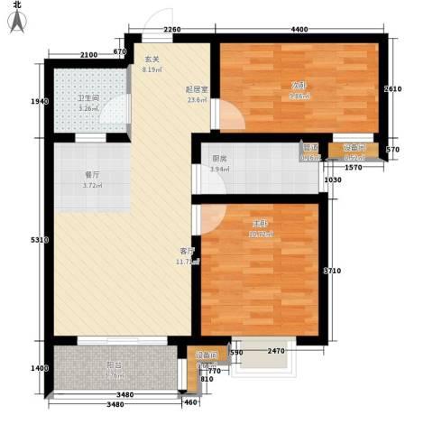 纯棉时代2室0厅1卫1厨88.00㎡户型图