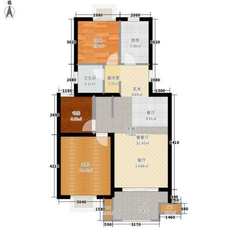 仙林诚品城3室1厅1卫1厨90.00㎡户型图