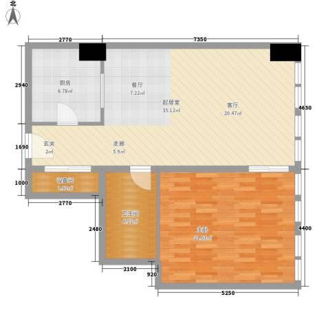 中宏汇景国际1室0厅1卫1厨80.00㎡户型图