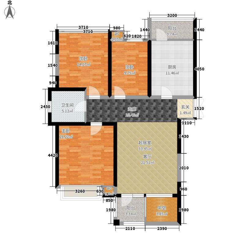 弘泽印象弘泽印象三室两厅一卫130平米平层E户型