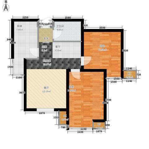 弘泽印象2室0厅1卫1厨88.00㎡户型图