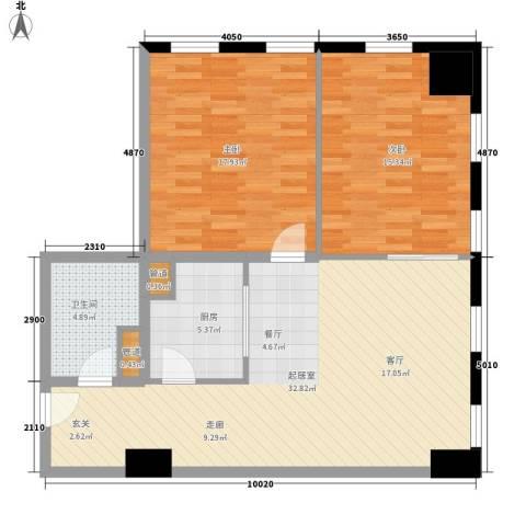 中宏汇景国际2室0厅1卫1厨88.00㎡户型图